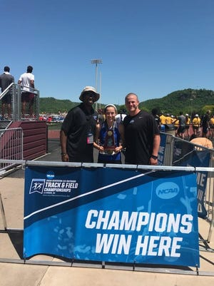 Former Simon Kenton star Christina Cook, joined by coaches Jeff Hill and Stephen Donoghue, finished sixth in the NCAA 400-meter finals for Thomas More College.