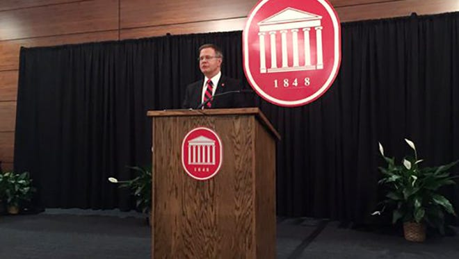 Jeffrey Vitter speaking at the University of Mississippi on Thursday.