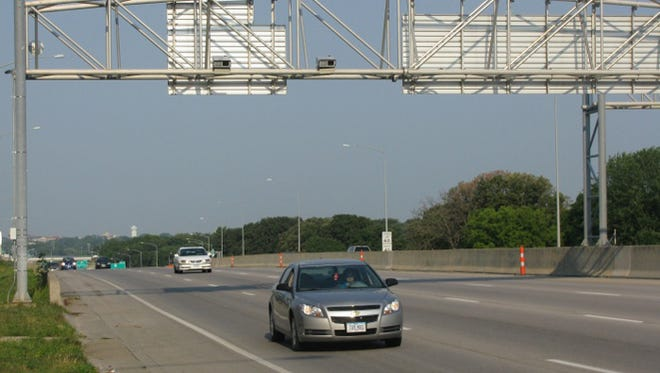 Automated traffic enforcement cameras monitor vehicles' speed on Interstate Highway 235 near 42nd Avenue in Des Moines.