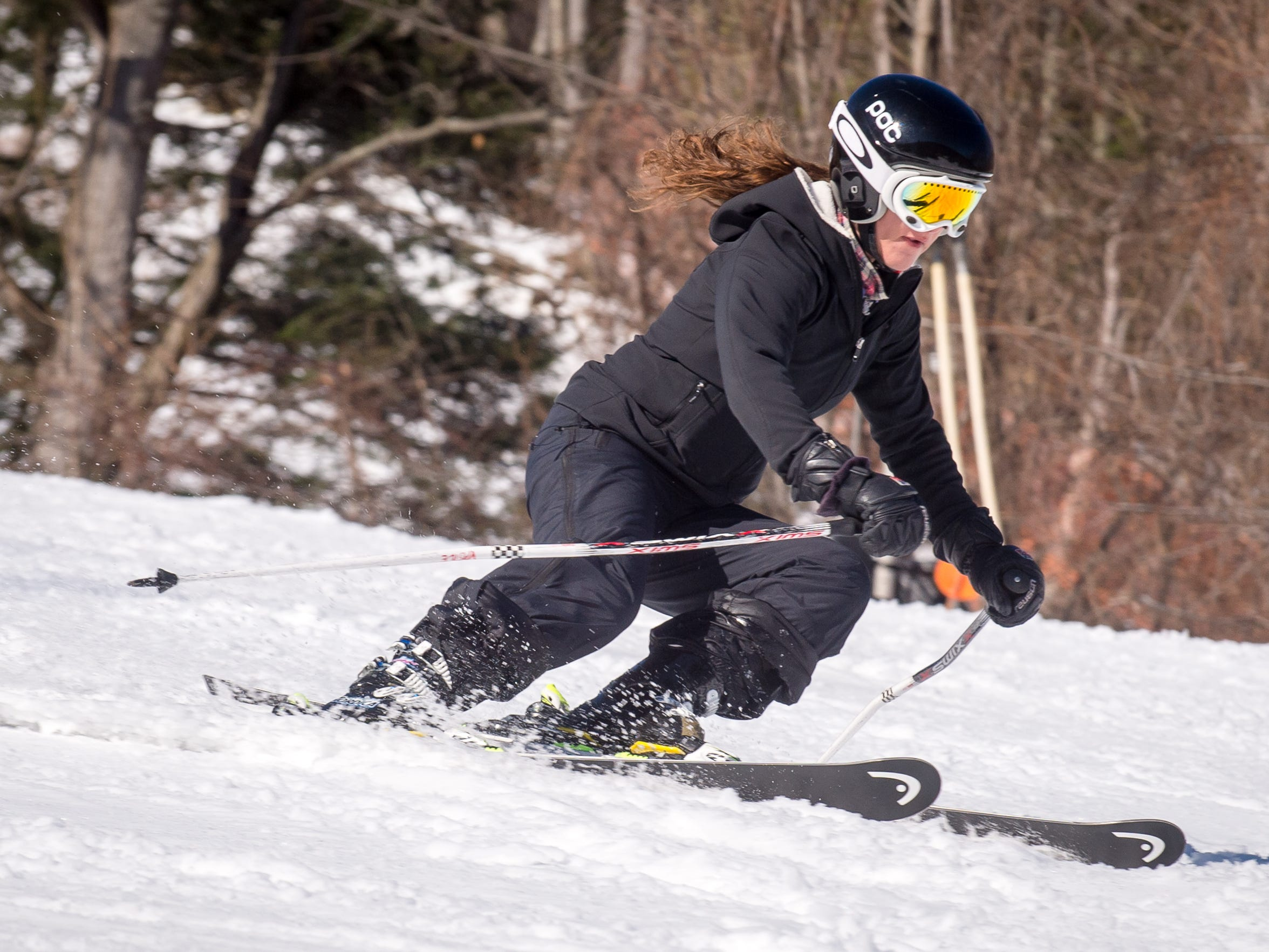 Webster Thomas junior Gabriella Vasile skis down one of the hills at Bristol Mountain on Feb 20.