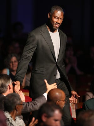 Former Detroit Piston Ben Wallace is introduced to the audience during the Michigan Sports Hall of Fame ceremony Friday, Sept. 9, 2016 at the Max M. Fisher Music Center in Detroit, MI.