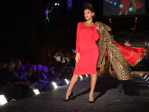 Models show fashions from Jenni Button's collection at Rochester Fashion Week's Fashion of Franklin on Saturday Night.