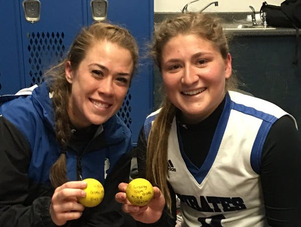 Pearl River's Kayla Moreau (left) and Lindsey Stephen scored their 150th and 100th career goals respectively in a 13-5 win over Nyack on Friday, April 8th, 2016.
