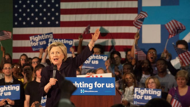 Hillary Clinton campaigns at Camden County College in Blackwood.