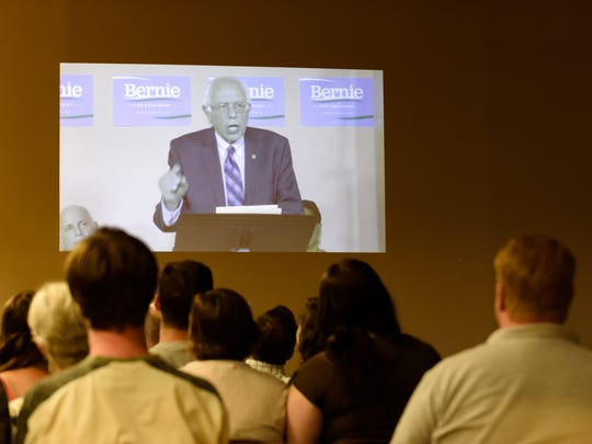 Delaware supporters of U.S. Sen. Bernie Sanders gather at the George Wilson Community Center in Newark in late July for a web-based address delivered by the presidential candidate.