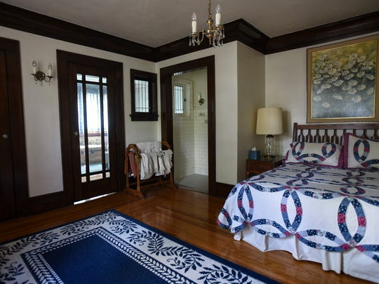 One of the bedrooms in the century-old four story stone