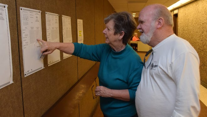 Billy Jones and his wife, Joanne Jones, look at sample ballots outside the Rapides Parish Registrar of Voters' Office on Friday before going inside to cast their ballots. Saturday, Nov. 14, is the final day to vote early for the Nov. 21 elections.
