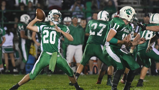 Margaretta's Nick Leibacher throws a pass against SJCC.