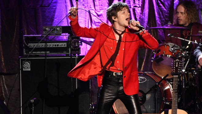 "Matt Shultz, of Cage the Elephant, performs ""Mary Jane's Last Dance"" at the MusiCares Person of the Year tribute honoring Tom Petty at the Los Angeles Convention Center on Friday, Feb. 10, 2017. (Photo by Chris Pizzello/Invision/AP)"
