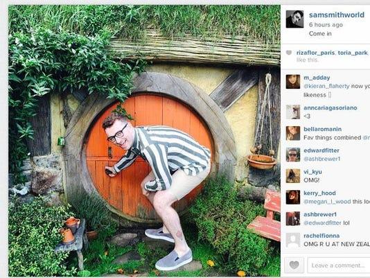 Sam Smith in Hobbiton (c) Instagram