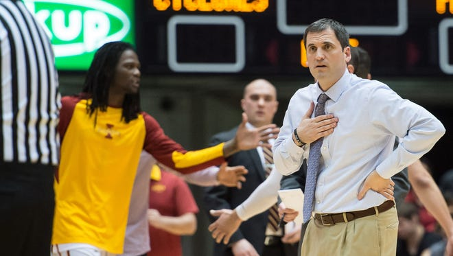 Iowa State Cyclones head coach Steve Prohm reacts to a call against the TCU Horned Frogs during the first half at James H. Hilton Coliseum. Iowa State won 92-83.