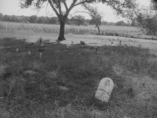 Carver family cemetery, ca. 1951. Moses Carver's tombstone