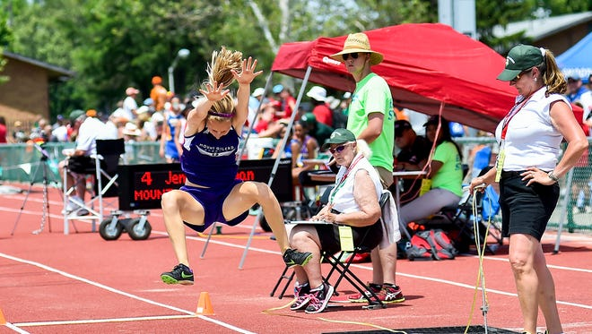 Jenna Shipman makes an attempt at long jump during the Division II state final Friday at Jesse Owens Memorial Stadium in Columbus.