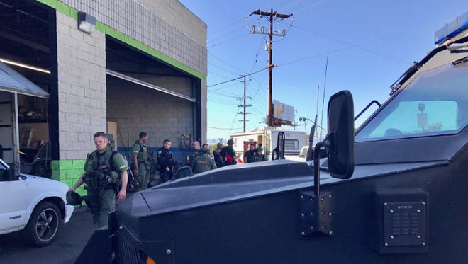 SWAT officers assisted in the search of a recreational vehicle where a brandishing suspect was thought to be located Saturday in Oxnard. The person was not found, police said.