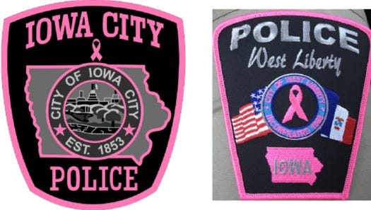 Special pink patches for the Iowa CIty and West Liberty police departments aim to raise money for breast cancer awareness.