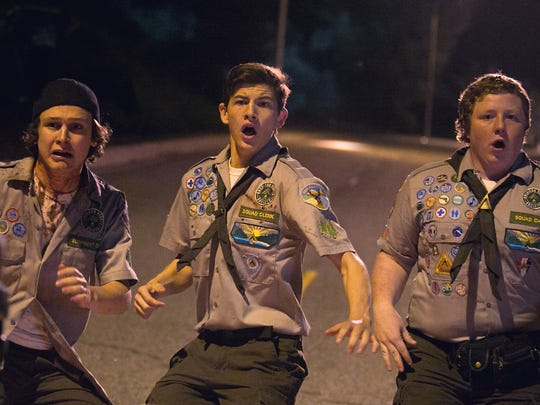 This photo provided by Paramount Pictures shows, Logan Miller, from left, as Carter, Tye Sheridan as Ben and Joey Morgan as Augie in the film, Scouts Guide to the Zombie Apocalypse.""