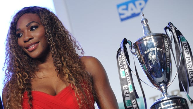 Serena Williams poses with the trophy ahead of the TEB BNP Paribas WTA Championships in Istanbul.