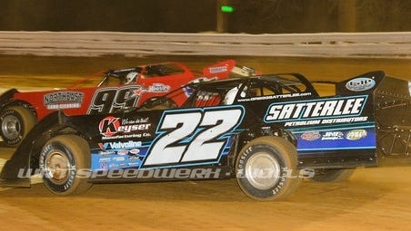 Gregg Satterlee (No. 22) captured a victory Friday night in a Late Model race at Williams Grove.