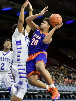 York High's Marquise McClean, shown in this file photo from the 2016-17 season, scored 14 points in the Bearcats' loss to Reading Saturday, Dec. 9, 2017.