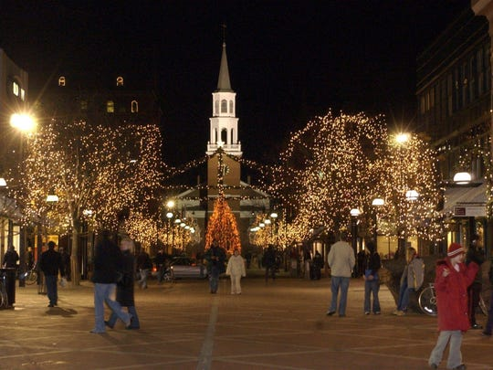 Holiday lights decorate the Church Street Marketplace in Burlington.