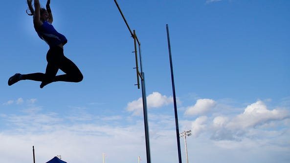 Michelle Rubinetti of Demerest HS clears 12 feet during