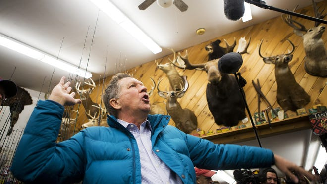 Ohio Governor John Kasich visits Walt Morse Sporting Good Store in Hillsboro, New Hampshire Tuesday, Jan. 19, 2016.