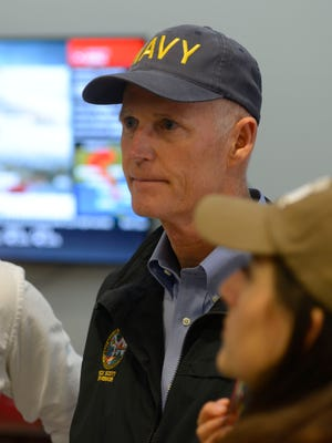 Governor Rick Scott visits the Escambia County Emergency Operations Center Sunday, September 10, 2017.