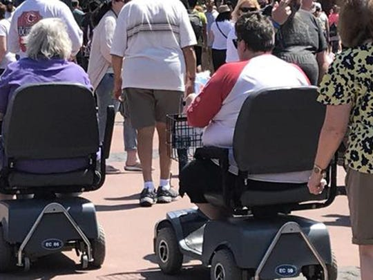 Disney has banned oversized strollers, but when it comes to scooters, the theme park is limited how it can regulate them because of federal law governing rights for people with disabilities.