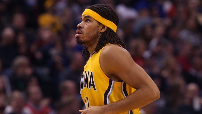 Indiana Pacer Chris Copeland, with 17 points, was the high scorer for the Pacers, with just 17:37 playing time against the Chicago Bulls in the Pacers' 92-90 loss at Bankers Life Fieldhouse on Monday, Dec. 29, 2014.