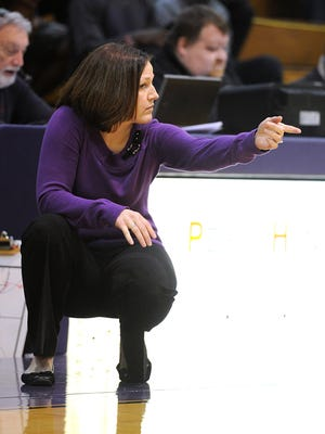 Hardin-Simmons head coach Melanie Chonko calls a play during the fourth quarter of the Cowgirls' 68-53 win on Saturday, Jan. 21, 2017, at HSU's Mabee Complex.