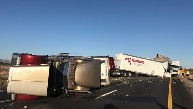 A crash involving three semi trucks on Interstate 10 East near Tonopah left one person dead and another injured on April 17, 2018.