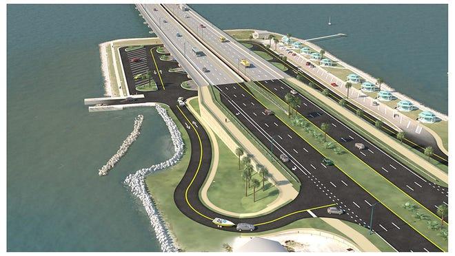 Pensacola Bay Bridge project rendering, Gulf Breeze approach.