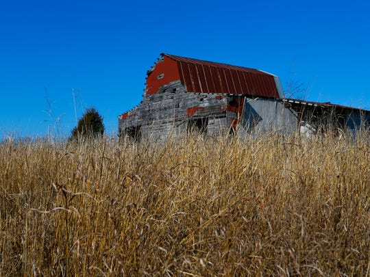 A dilapidated barn at the 1,011-acre Ozark Mountain