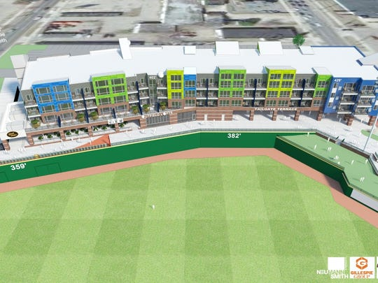 Updated artist's renderings of the Outfield, an 84-unit apartment building in the outfield of Cooley Law School Stadium in downtown Lansing.