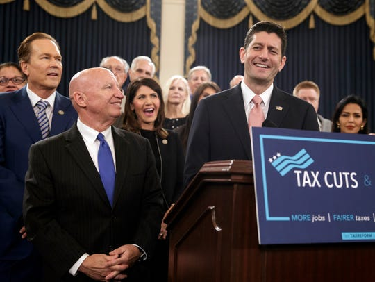 Kristi Noem celebrated passage of the original House tax reform bill with Speaker Paul Ryan and other Republican leaders.