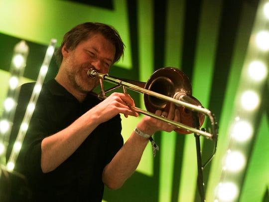Erik Johannessen, a member of Jaga Jazzist performs