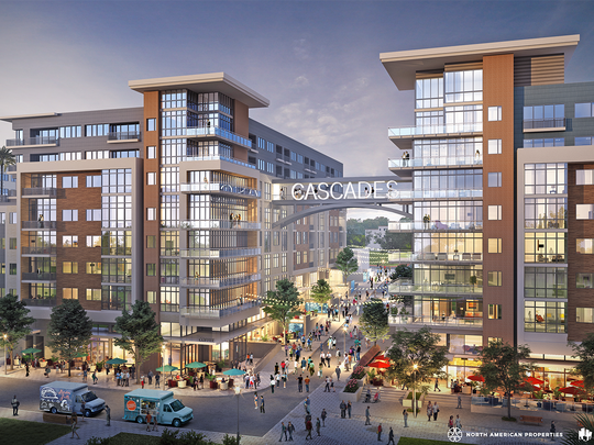 Architectural rendering of the proposed Cascades Project developed by North American Properties.