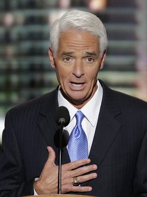 Former Florida Republican Gov. Charlie Crist addresses the Democratic National Convention in Charlotte, N.C., on Thursday, Sept. 6, 2012. (AP Photo/J. Scott Applewhite)