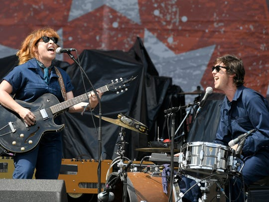 Cary Ann Hearst of Shovels & Rope performs with husband Michael Trent at Pilgrimage Music & Cultural Festival Saturday, Sept. 23, 2017 at The Park at Harlinsdale in Franklin, Tenn.