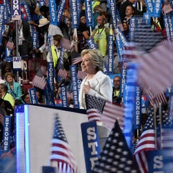Democratic Presidential nominee Hillary Clinton speaks during the 2016 Democratic National Convention.