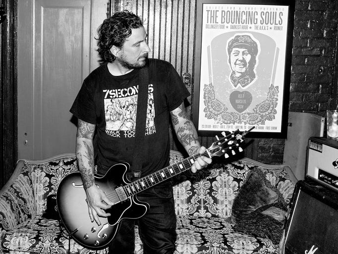 The Bouncing Souls' Pete Steinkopf rehearses with the band at Little Eden Studios in Asbury Park for their upcoming shows in New York and Asbury Park on Monday, July 7.