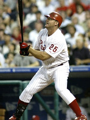 Jim Thome watches his 400th career home run on June 14, 2004. Fourteen later to the day, the Phillies honored the slugger on his induction into the Hall of Fame,