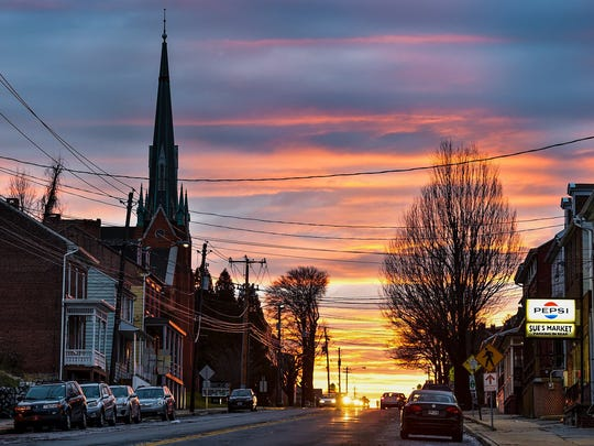 The sun sets over Hellam Street in Wrightsville, a