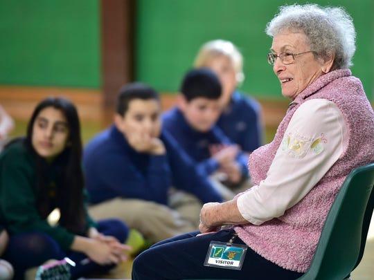 Annabelle Hornbaker entertains Corpus Christi School