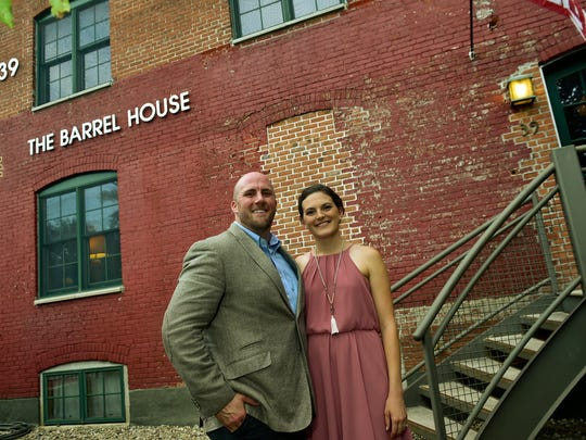 Josh Dunklebarger, owner of The Barrel House, is pictured with his wife, Erica. The Barrel House held a grand opening Aug. 4 at 39 North Third Street, Chambersburg.
