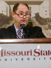 Missouri State University Athletic Director Kyle Moats talks about the elimination of the field hockey program due to budget cuts at JQH Arena on Monday, April 3, 2017.