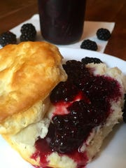 Microwave blackberry jam does is not set with pectin and is a bit syrupy, perfect for biscuits.