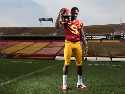 Iowa State wide receiver Quenton Bundrage poses for a picture at the Iowa State football media day on Sunday, Aug. 10, 2014, at Jack Trice Stadium in Ames, Iowa.