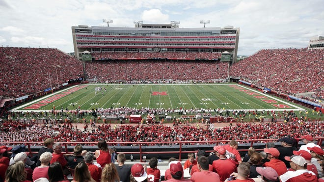 Nebraska fans fill General Memorial Stadium in Lincoln, Neb., during a college football game between Nebraska and South Alabama, Aug. 31, 2019.
