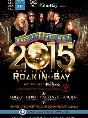 Molly Hatchet and Blackfoot will headline Rockin' the Bay on New Year's Eve near Palm Bay City Hall